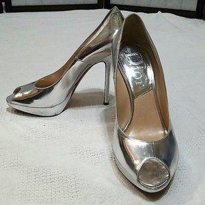 Dior vintage silver metallic peep toe heel